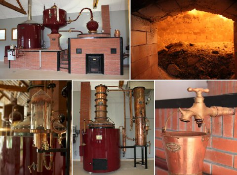 La simple ou double distillation des cidres de pommes est effectuée dans des alambics pour obtenir le calvados