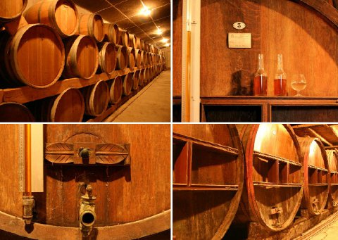 The calvados ages in 100 years old aok barrels in the cellar of the Domaine Pierre Huet at Cambremer.